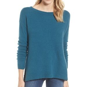 Caslon Teal Back Zip High/Low Sweater
